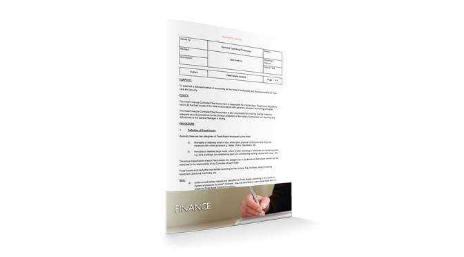 Fixed Assets Control : Finance : Sopforhotel.com : SOP