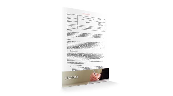 Food & Beverage Cost Control : Finance : Sopforhotel.com : SOP