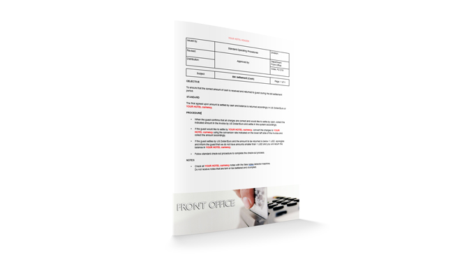 Bill Settlement (Cash) : Front Office : Sopforhotel.com : SOP